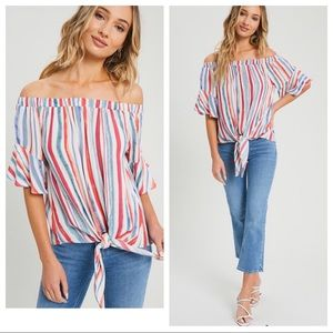 Tops - JUST IN! Striped Off The Shoulder Top!